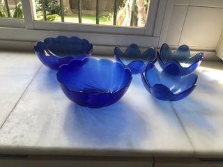 JUEGO DE 5 fuentes azules