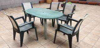 Conjunto mesas y sillas jardín terraza