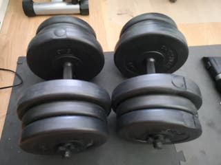 Mancuernas de 20kgs más barras
