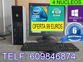 ORDENADOR COMPLETO 4 NUCLEOS 4 GB RAM WINDOWS 10