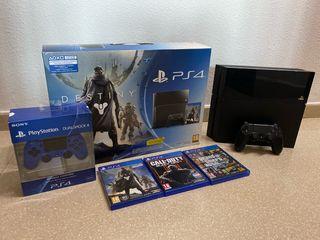 PS4 (2 mandos + 3 juegos)