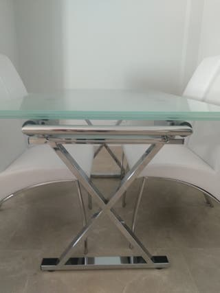 Fantástico conj. mesa extensible y sillas moderno