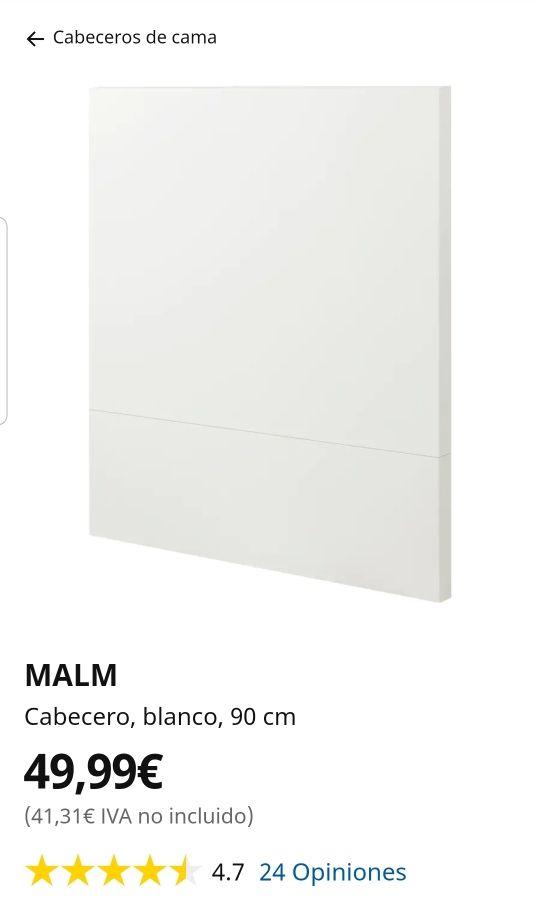 IKEA Cabecero blanco para cama 90 similar MALM