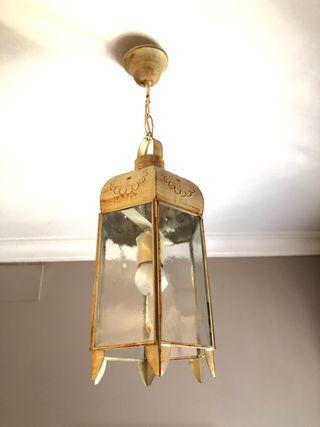 Conjunto 2 lámparas tipo farol en forja y cristal