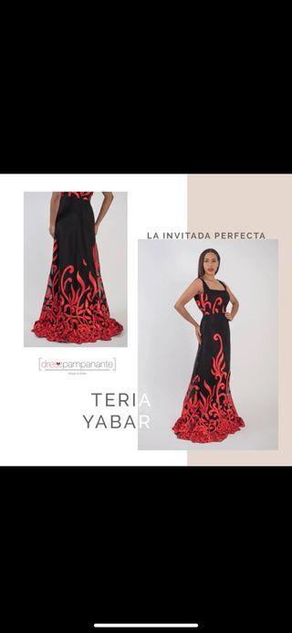Vestido largo bicolor rojo y negro Teria yabar