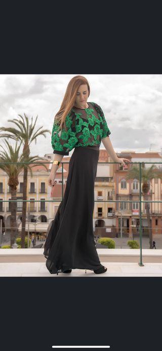 Vestido largo verde y negro Teria Yabar