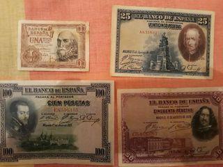 antiguos billetes de 1-25-50-100 pesetas