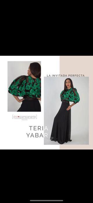 Vestido Teria Yabar negro y verde .