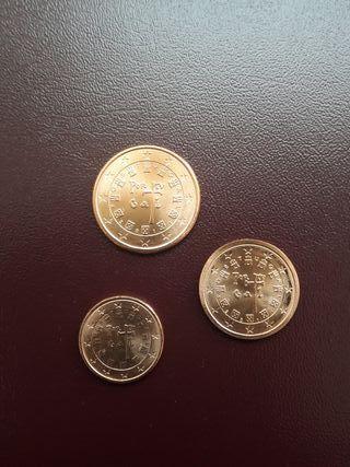 Trío 1, 2 y 5 céntimos de euro Portugal 2011