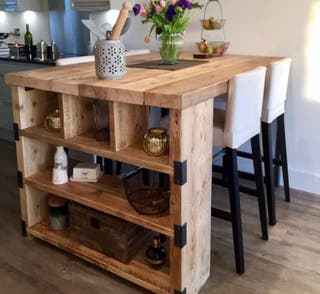 Mesas altas industriales madera y acero