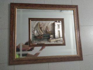 cuadro espejo con relieve bañado en plata