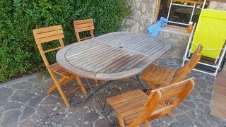 Conjunto jardin mesa y 4 sillas