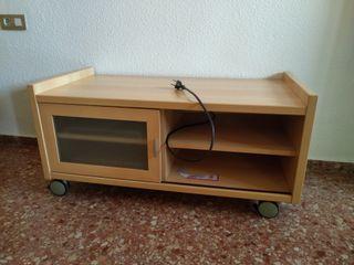 mueble tv con ruedas y estantes extraibles