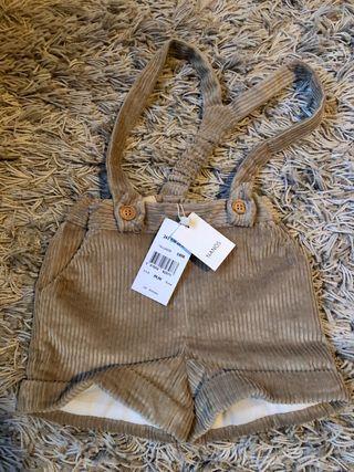 Pantalones cortos tirantes Nanos baby beis y gris