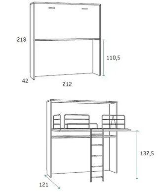 Cama abatible con escritorio extraible*smp