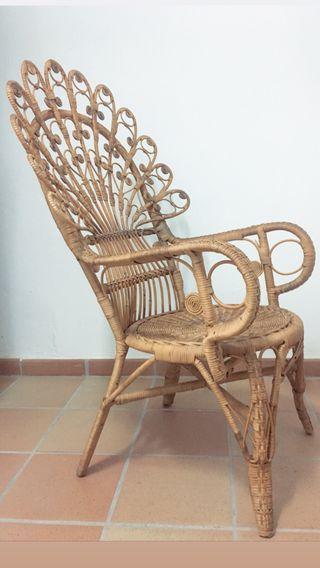 Peacock silla ratan bambu mimbre filigrana