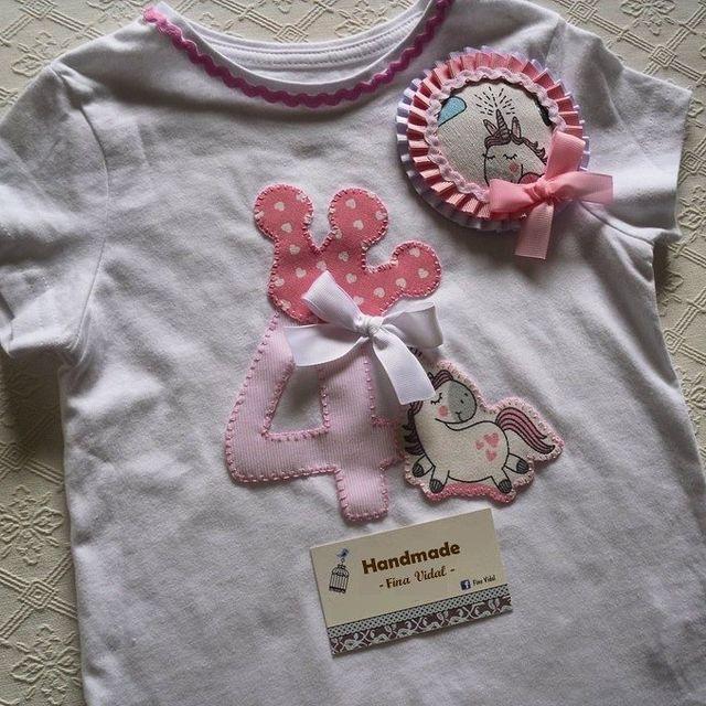 Handmade unicorn tshirt + hairclip