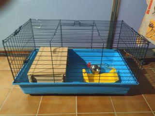 Jaula de cobaya/conejo grande con accesorios