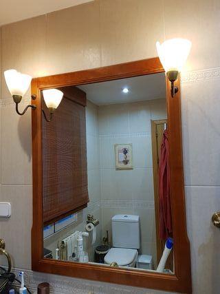 Espejo Baño Madera Vintage con dos tulipas de luz