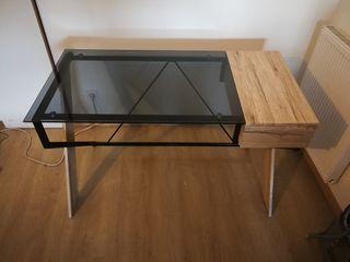 Bureau verre trempé noir et bois