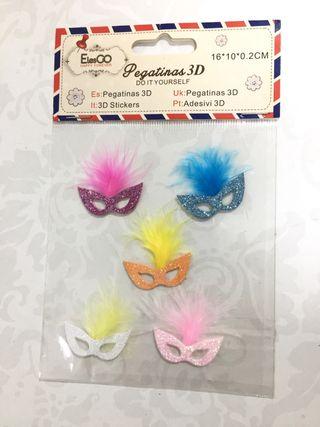 Pegatinas en 3D. Caretas de Carnaval