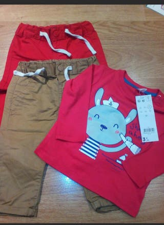 2 Pantalones+ camiseta tallas 9