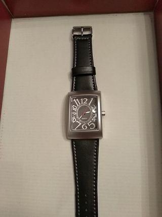 reloj de pulsera diseño modernista correa negra