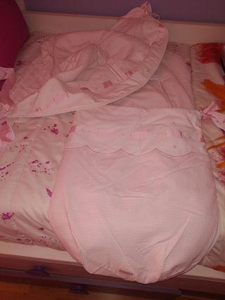 saco y capota rosa de rayas y topos para Bugaboo d