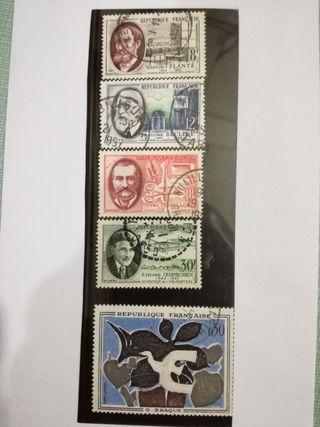 Lote de 5 sellos Republique Française.