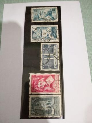 Lote de 5 sellos. República Francesa.