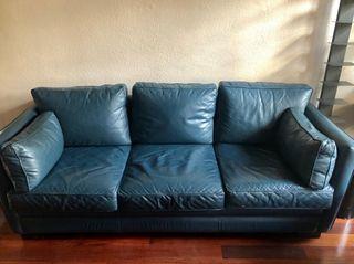 Sofa de piel azul 3 plazas