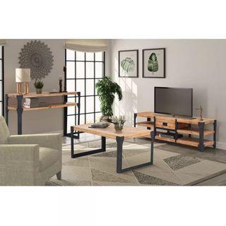 Conjunto de muebles de salón 3 piezas madera