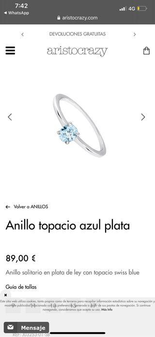 Anillo topacio azul plata aristocrazy
