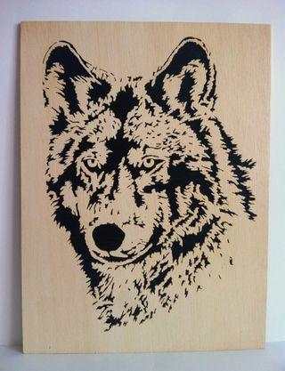 Lobo Cuadro de madera calado con sierra Decoracion