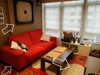 Sofá + cuadro minimalista + alfombra
