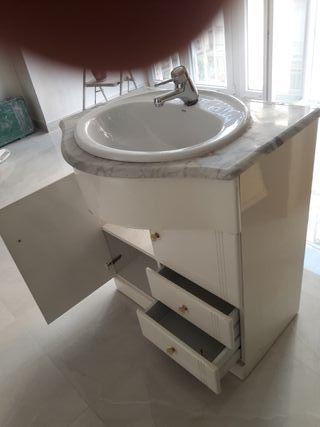 lavabo mármol mueble y grifo