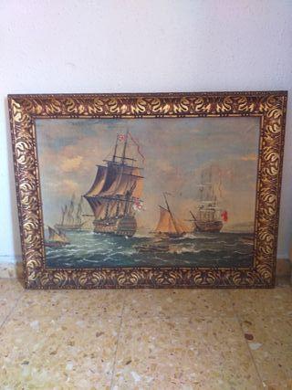 cuadro antiguo barcos
