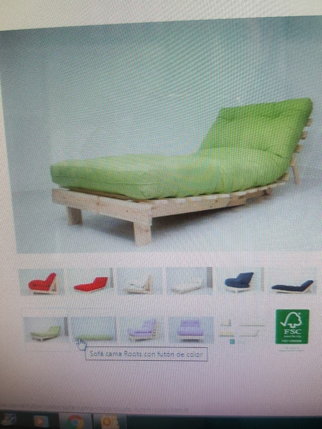 Base articulada sofá-cama de madera con futón