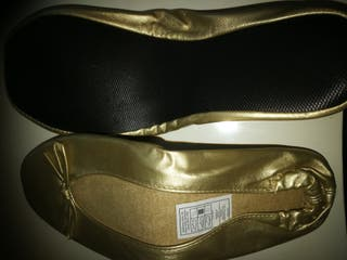Manoletinas doradas nuevas nr 37