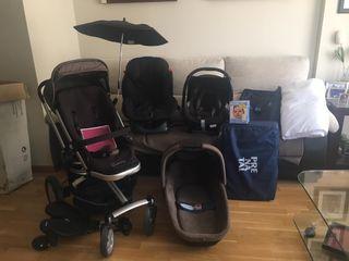 Pack carrito 3 piezas+cuna de viaje+ silla coche