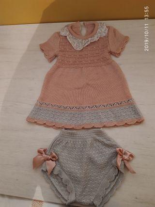 Vestido , ropa bebe de 0 a 3 meses ganchillo