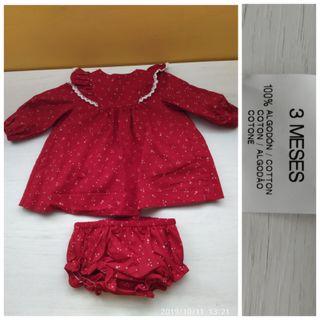 Vestido , ropa bebe niña de 1 - 3 meses