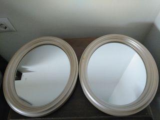 pareja de espejos 30x37mas o menos son ovalado