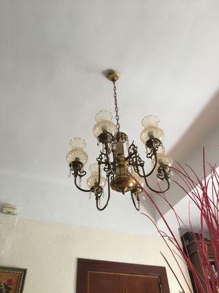 Lámpara bronce 6 brazos