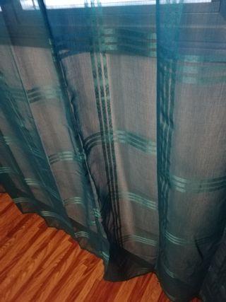 cortinas de habitacion. color verde 2,40cm