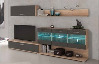 Mueble de salón con vitrina y luces led