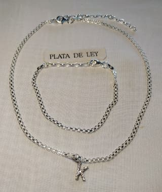 CHOKER DE PLATA 925 _32+8CMS Y COLGANTE