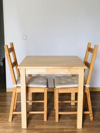 Conjunto de mesa cuadrada comedor + 2 sillas Ikea