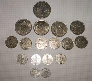 Lote de 17 monedas pesetas de Franco