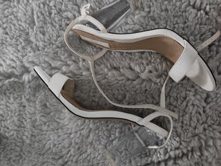 Zapato Sandalia tacón transparente blanca
